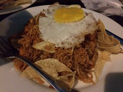Nasi Goreng - Indonesian Sweet Soy Fried Rice with Beef & Chicken topped with Omelette.