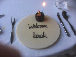 Cake presented to diners at the end of their meal