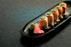 Catch Roll with Crab, Salmon and Miso Sauce
