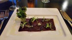 beet carpaccio -costum entree at the italian restaurant