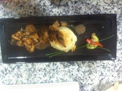 Pesce porco and flan parmesan