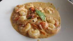 Shrimp in Roquefort sauce. Amazing!