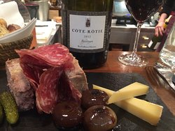 Charcuterie, cheese and a lovley Côte Rôtie to pair. Great selection of wines.