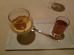 Honey Ice Cream with warm whiskey butterscotch paired with vietti moscato D'Asti, Piedmont 2015