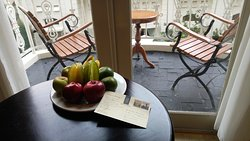 Welcome Fruit Plate and small Balcony overlooking Pool