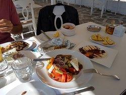 Greek salad, grilled halumi & octopus