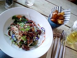 Crispy Duck Salad and Double dipped Chips