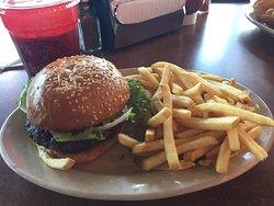 Basic Hamburger and Fries and an iced tea.