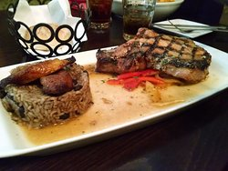 Grilled Pork Chops with brown rice and beans