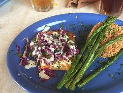 Coronado Calamari,coleslaw, rice pilaf and asparagus