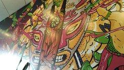 A peek at the Mural inside...