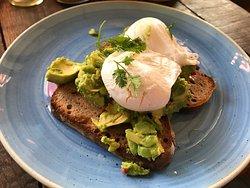 Breakfast - avocado toast & cappuccino
