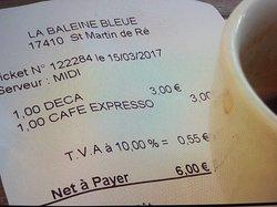 Ticket de 2 cafés
