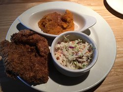 Crab cakes.  Fried chicken w sweet mashed potatoes.