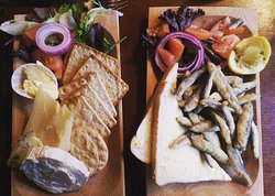 Cheese board and whitebait