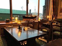 Window-side dining at the Bryggeloftet & Stuene