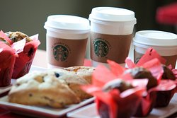 The iCafe proudly serves Starbucks products and a variety of snacks.