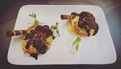 Chocolate profiteroles for desserts