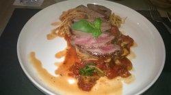 Steak met pasta