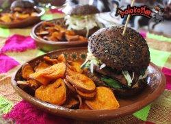 hamburguers: vegetarian, turkey and bacon, Smoked pork chop and onion in BBQ sauce