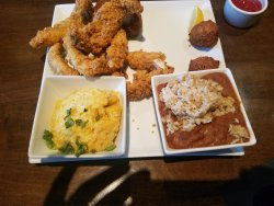 Catfish and Chicken with Red Beans & Rice and Corn Grits