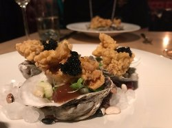 caviar, oysters, and apple