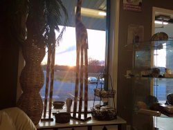 Relaxing sunsets at the coffee shop