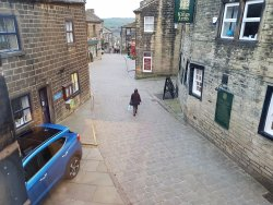 Looking right down the street with views of the moors.
