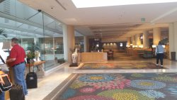 Looking at the restaurant & bar, lounge areas, and business area from the lobby