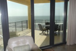 View of patio - table with 6 chairs plus sofa & 2 comfy chairs & coffee table
