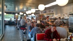 Inside the Waffle House...Typical dinner set up. You can sit at the bar or table.