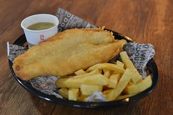 Fresh, not frozen, Fish and hand cut on site Chips