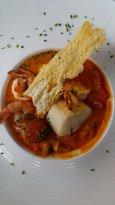 Curry rouge de cabillaud et crevettes black tiger_riz au gingembre