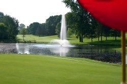 Our signature 16th hole looking back from the green.  This hole is a true test of skill!
