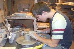 Student making a pot