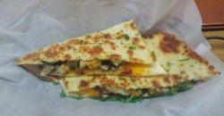 Yummy chicken, mushroom, artichoke quesadilla-panini thing.