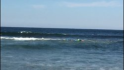 Coach Kieren leading the way through the waves
