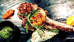 """""""Grain Fed Veal Chop"""" Our best steak for lunch and/or dinner! Make your reservation via 201.461."""