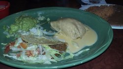 taco, queso puff, guacomole, beans and rice!