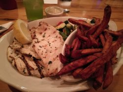 Chicken with sweet potato fries and some Zucchini, cherry tomatoes and mozzarella