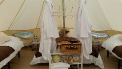 Inside our luxury bell tents.