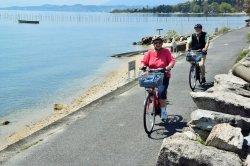 Cycling along Lake Biwa