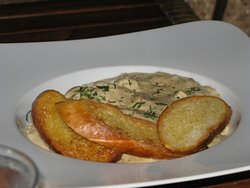 Wine-scented mixed seafood, cheese sauce