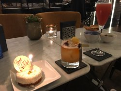 Amaretto Sour and birthday cheesecake