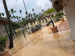 Pool area after the storm flooded April 2017