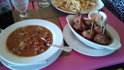 Conch fritters and chowder.  Delicious.
