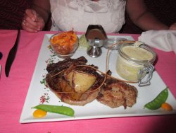 This is the grilled ribeye steak with foie gras on top. Yummy