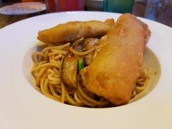 Oriental chilli fish pasta