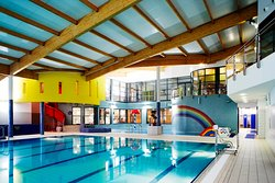 Our main swimming pool, with a view of the childrens splash pool to back of the picture
