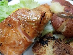 Maple Soy Salmon with Garlic Smashed potatoes